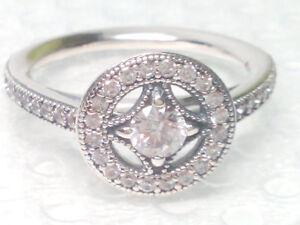Authentic Pandora Vintage Allure Clear Cz Ring 191006cz