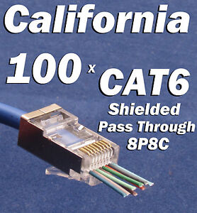 100 x cat6 shielded ez rj45 pass through modular plug connector open image is loading 100 x cat6 shielded ez rj45 pass through publicscrutiny Choice Image