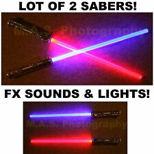 LOT OF 2 STAR WARS SABERS FX SOUND LIGHTSABER LIGHT SABER SWORD TOY - NICE GIFT!