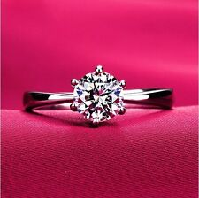 1 Ct Round Cut Solitaire Engagement Wedding Ring 14K White Gold finish 8.5