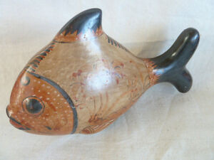 Mexico-Pottery-Folk-Art-Fish-Large-amp-Charming-L-11-1-4-034-H-7-034