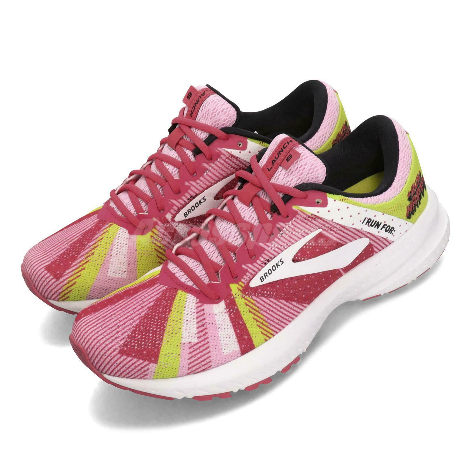 Brooks Launch 6 Happy Run Special Pink Yellow White  Women Running shoes 120285 1B  free delivery and returns