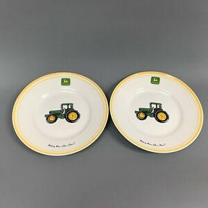 Gibson-John-Deere-Tractor-Salad-Plates-Yellow-Trim-Lot-of-2