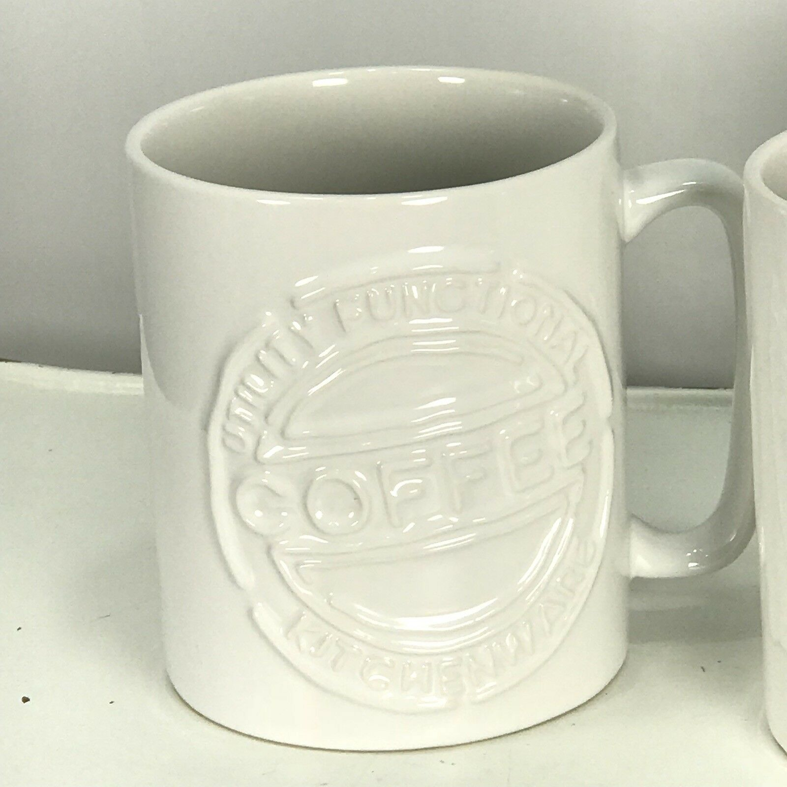 Pier 1 Logo Coffee Mugs Pair Cups Tea Mugs Stoneware