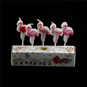 Image Is Loading 5pcs Lot Cartoon Flamingo Candles Cake Kids