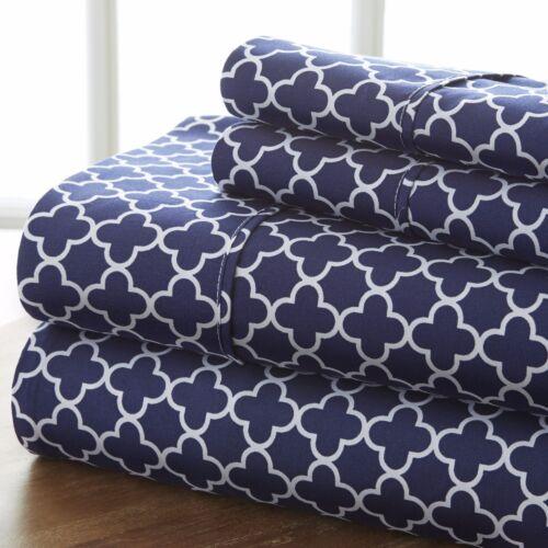 2 Beautiful Colors! New Quatrefoil Design Premium Quality 4 Piece Sheet Set