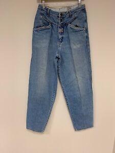 Vintage 80s 90s Lee High Rise Tapered Blue Denim Back Yoked Mom Jeans 29