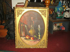C Joshua Oil Painting On Board-Wine Bottle Candle Books Apples-Jewish?-Gilded
