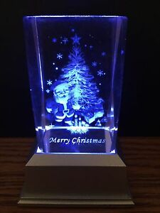 CHRISTMAS TREE  SANTA 3D LASER CRYSTAL WITH COLOUR CHANGE LED