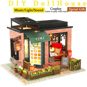 DIY-Wooden-Assemblin-Toy-Model-Doll-House-Miniature-Kit-Bookstore-Birthday-Gift