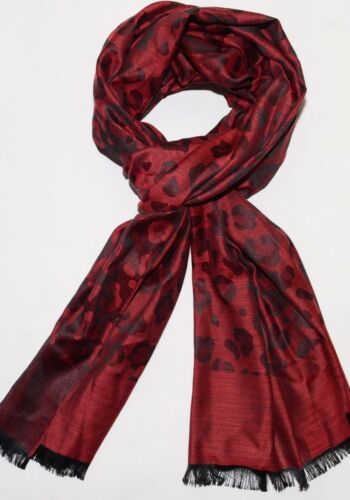 Ladies Long Silk Scarf Floral Leopard Print Spotty Cat Scarf Shawl Pattern Wrap