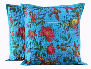 Indian-Vintage-Cushion-Cover-Set-of-2-Cotton-Kantha-Handmade-Home-Decor-Art-New