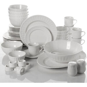 Image is loading Dinnerware-Set-46-Piece-Plates-Dishes-Bowls-Kitchen-  sc 1 st  eBay & Dinnerware Set 46 Piece Plates Dishes Bowls Kitchen China Serveware ...