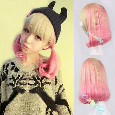 fashion blonde+pink mix lolita wig cosplay party short curly wave hair full wigs