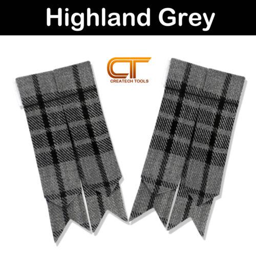 CT Scottish Kilt Hose Sock Flashes Various Tartans Acrylic Wool Flashes