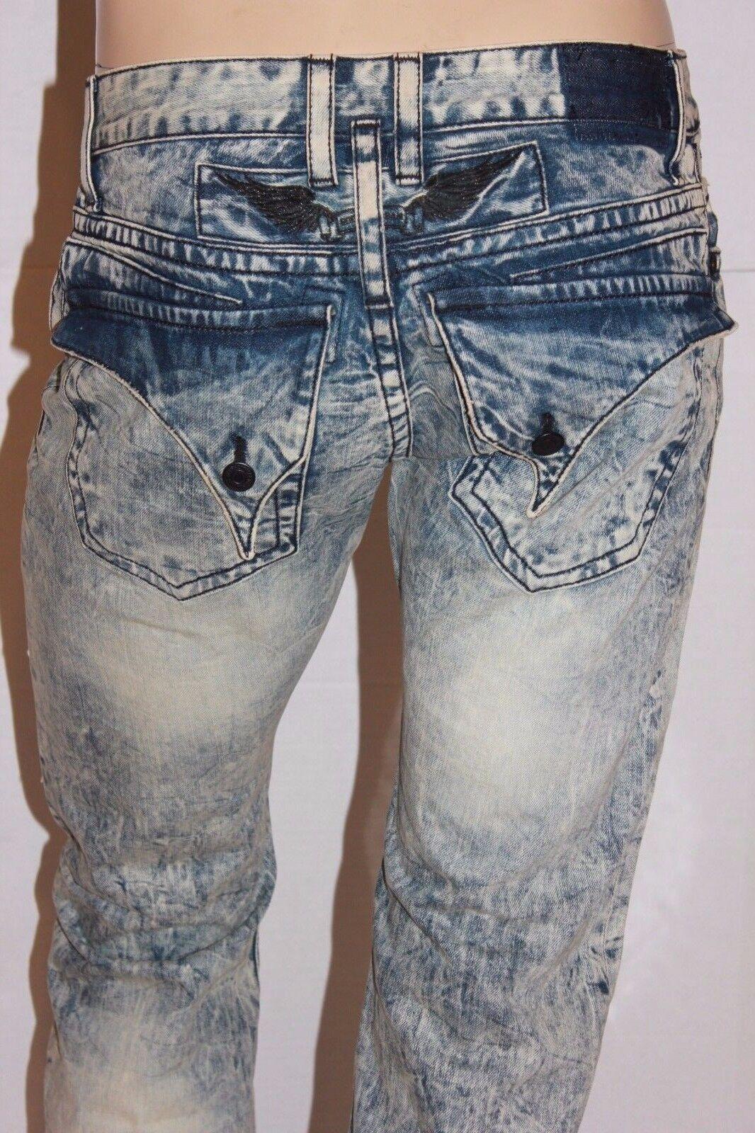 New Men's ROBIN'S JEAN sz 29  D5696 LONG FLAP Straight Leg Jeans -Acid Wash