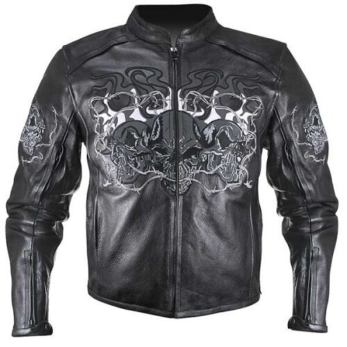 B95010 Reflective Leather Triple Skulls Cruiser Armored Motorcycle Jacket
