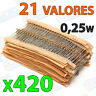 Lote 420 Resistencias 21 valores diferentes 5% 1/4w 0,25w carbon film resistor
