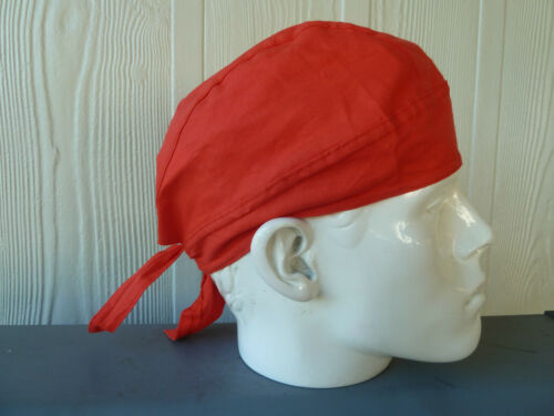 One size fits all Head Wrap SOLID RED 100/% cotton Biker Durag//Helmet liner