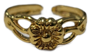 Toe Ring Flower Adjustable Gold Plated over 925 Sterling Silver # 24