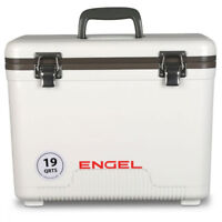 Engel 19 Quart Fishing Dry Box Ice Cooler with Shoulder Strap (White0