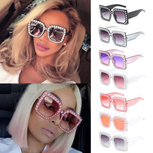 f9686d500d6 Image is loading 2018-Oversized-Square-Frame-Bling-Rhinestone-Sunglasses -Women-