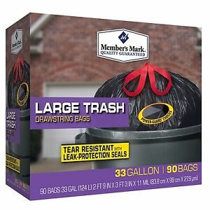 members mark 33 gallon drawstring black trash bags 90 ct drum liners garbage ebay. Black Bedroom Furniture Sets. Home Design Ideas