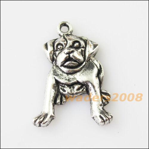 8 New Roaring Animal Dog Tibetan Silver Tone Charms Pendants 18x26mm