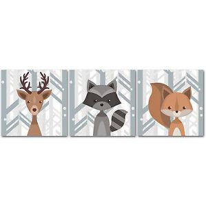 Details About Woodland Creatures Nursery Decor Canvas Wall Art Deer Rac Squirrel Se