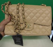 """AUTH Chanel 12"""" Double Flap Jumbo Light Beige Claire Caviar Bag - GREAT COND"""