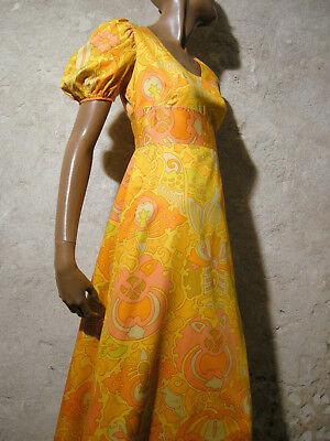 Trendmarkierung Schick Vintage Langes Kleid 1970 Echtes Vtg Maxi 70s Modell Psychedelic (36) Fortgeschrittene Technologie üBernehmen