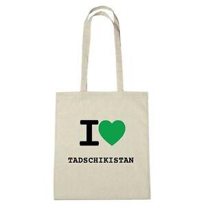 Umwelttasche - I love TADSCHIKISTAN - Jutebeutel Ökotasche - Farbe: natur