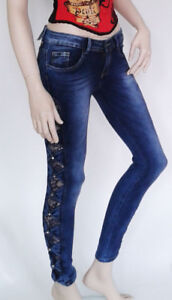 LEXXURY Skinny Jeans with Lace and Rhinestones Gr.32, 34,36