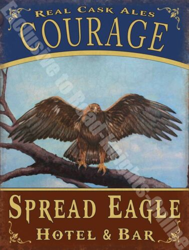Eagle Hotel Funny Courage Cask Ale Beer Old Pub Bar Sign  Small Metal Tin Sign