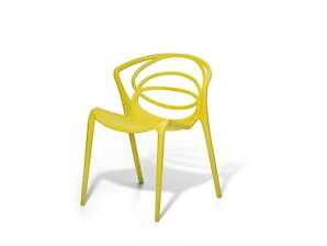 Esszimmerstuhl, Gartenstuhl, Sessel, Essstuhl, Plastikstuhl, gelb, Kunststoff