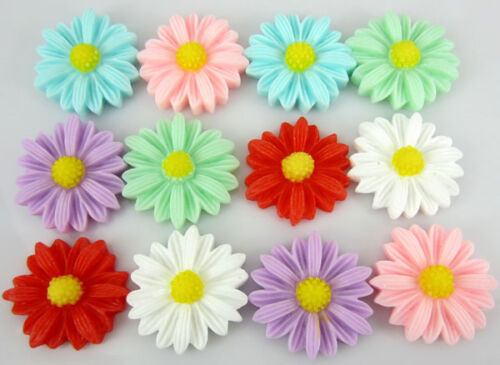"""30Pcs 7//8/"""" 22mm Mixed Resin flatback cabochons Daisy Flower Appliques for Craft"""