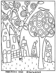 RUG-HOOKING-CRAFT-PAPER-PATTERN-Happy-Houses-FOLK-ART-ABSTRACT-Karla-Gerard