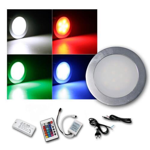 5er Komplett-Set Einbauleuchte EBL Slim rund IP67 RGB Alu Einbaustrahler Spots
