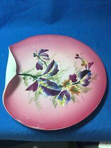 Antique hand enameled Peachblow Glass large bonbon plate