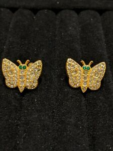 Vintage-Estate-Gold-Tone-Green-Rhinestone-Butterfly-Screw-Back-Earrings
