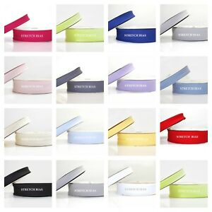 STRETCH BIAS BINDING trim ALL COLOURS  20m ROLL 1m or 5m 18mm or 30mm width
