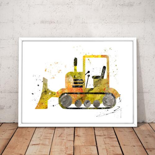 Yellow Digger Boys Boy Watercolour Nursery Decor Art Poster Print