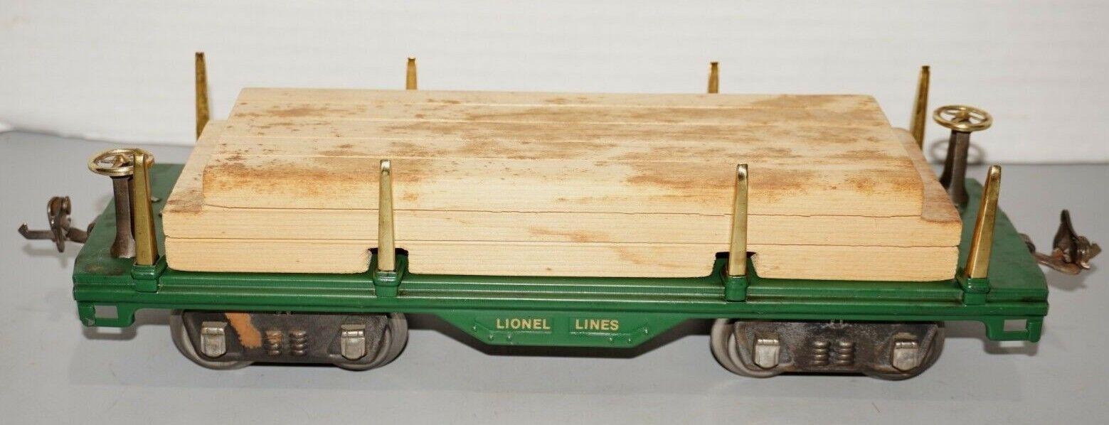 LIONEL PREWAR STANDARD GAUGE  511 verde FLAT CAR WITH WOOD LOAD