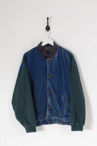 Vintage Men's Denim Varsity Jacket Dark Blue (M)