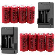 8x 16340 CR123A 2300mAh Rechargeable 3.7V Li-ion Battery + 2x Charger For Torch