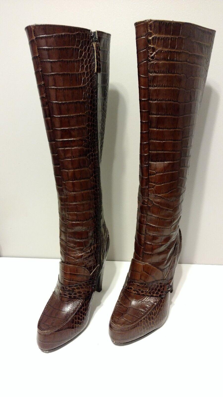 omaggi allo stadio Anthropologie Giulia stivali Marrone  Embossed Leather by Gaia Gaia Gaia D'Este Dimensione 38 A3  alla moda