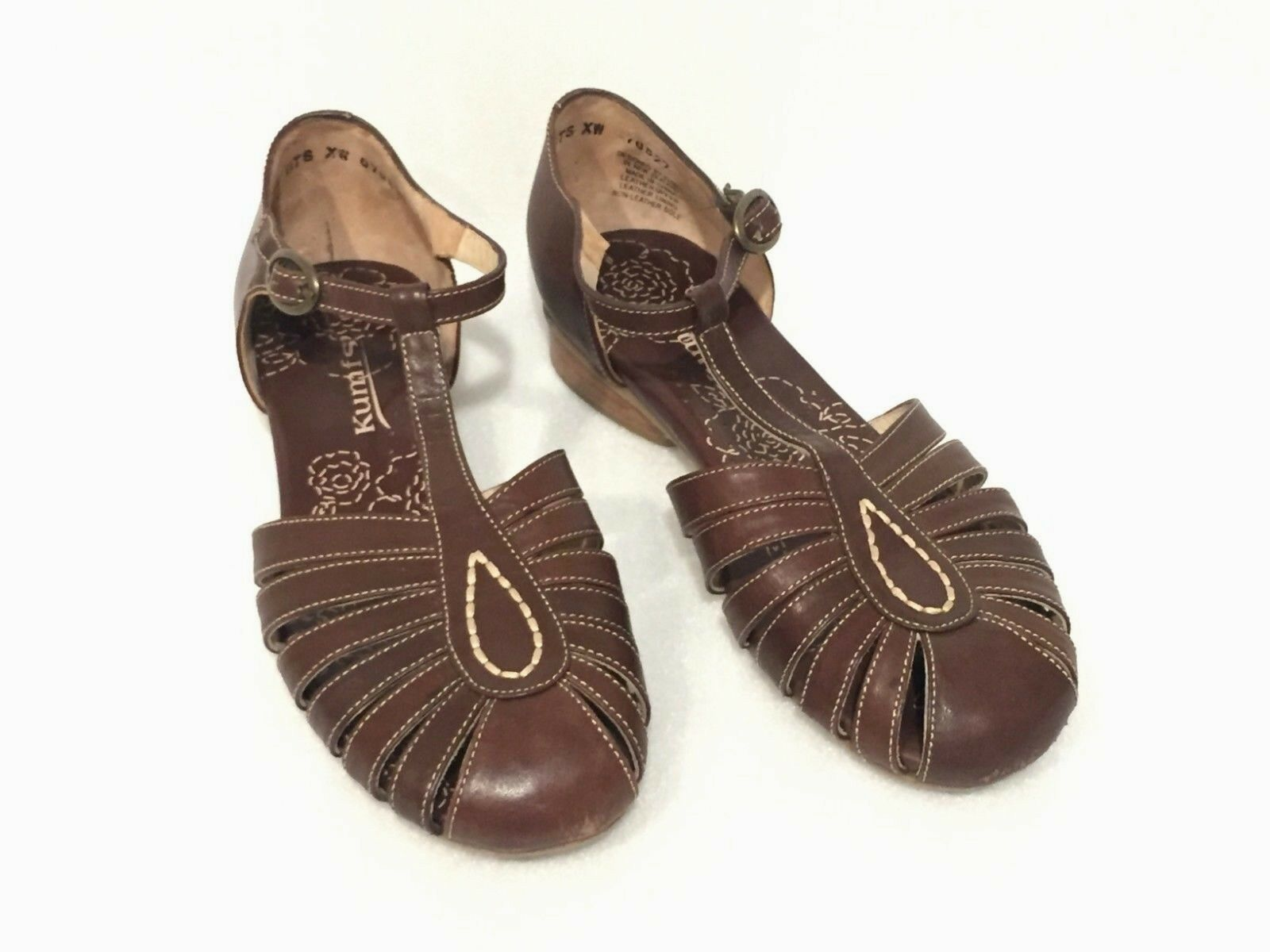 Women's KUMFS Brown LEATHER MARY JANE Comfort FLATS SIZE 40 EUR XW