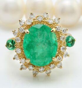 5-31-Ct-Natural-Zambia-Esmeralda-Diamantes-en-14K-Oro-Amarillo-Macizo-de-Mujer