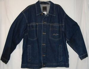 ecd0730fb28 Sean John Mens XL Jean Jacket Dark Blue Cotton Denim Button Front ...
