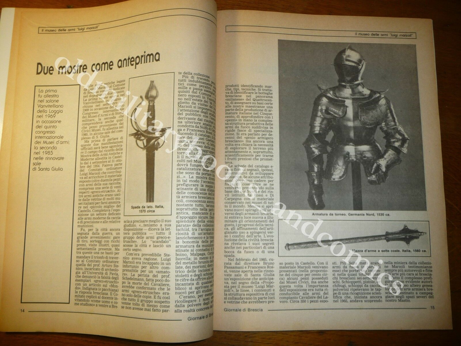 IL MUSEO DELLE ARMI LUIGI MARZOLI SUPPLEMENTO DEL GIORNALE DI BRESCIA ANNI '70
